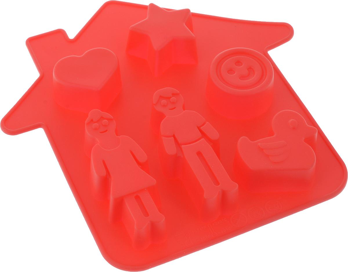 Форма для выпечки Доляна Милый дом, цвет: красный, 21 х 21 х 2,5 см, 6 ячеек
