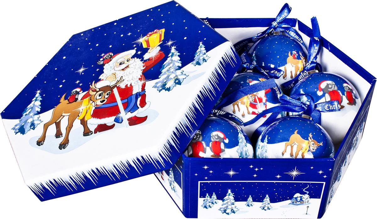 Набор новогодних подвесных украшений Mister Christmas  Папье-маше , диаметр 7,5 см, 7 шт. PM-51-7 -  Украшения