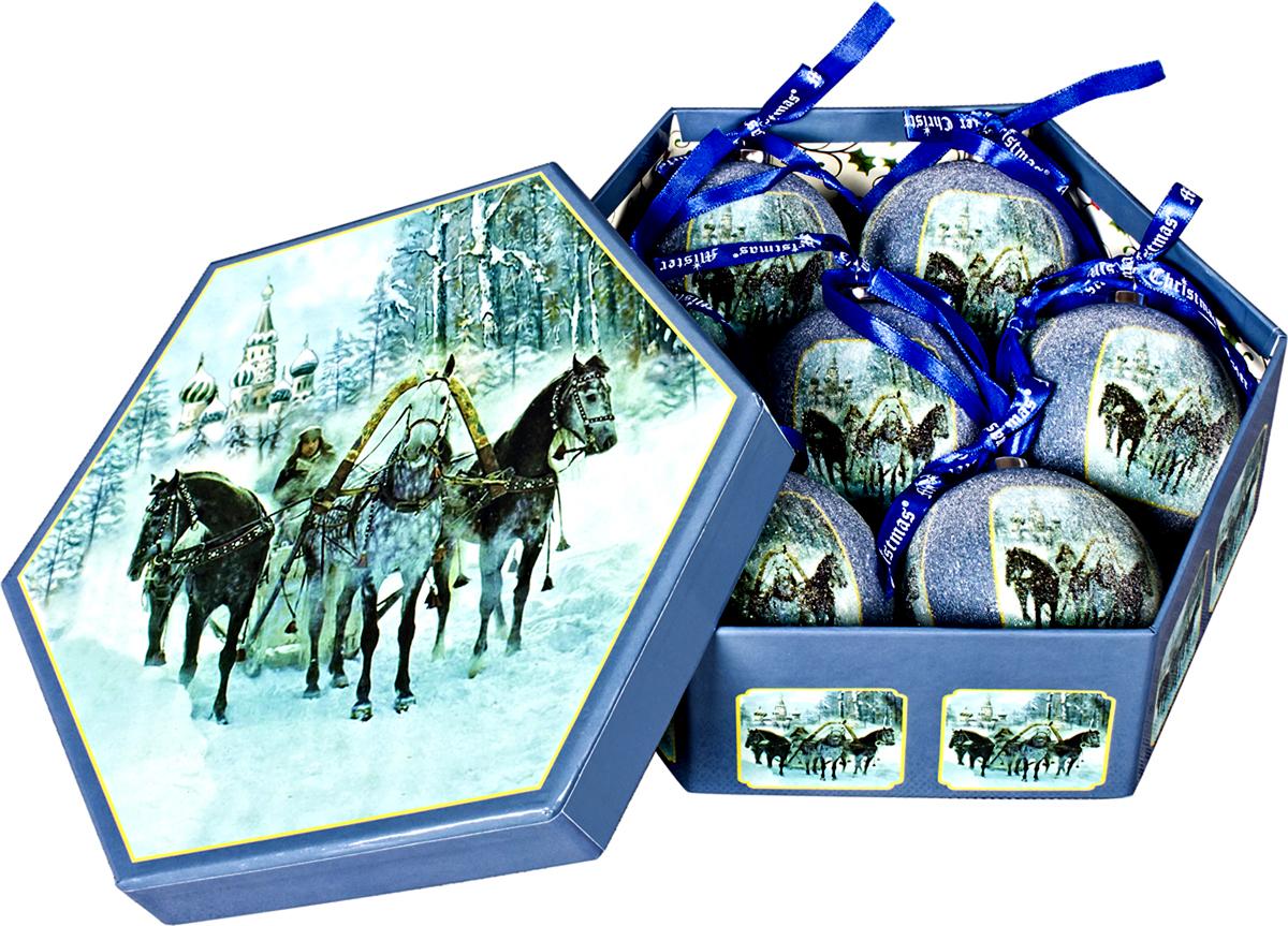 Набор новогодних подвесных украшений Mister Christmas  Папье-маше , диаметр 7,5 см, 6 шт. PM-52-7 -  Украшения