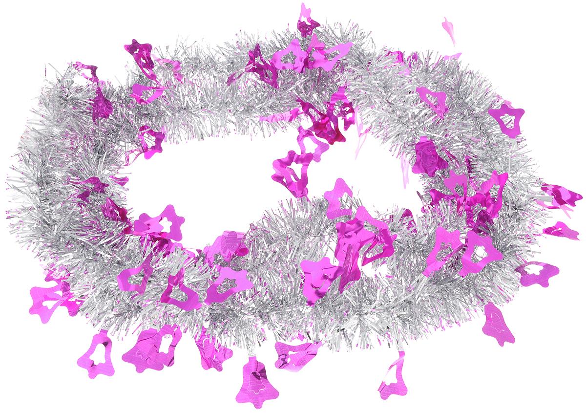 Мишура новогодняя Sima-land, цвет: серебристый, фиолетовый, диаметр 5 см, длина 2 м. 702617