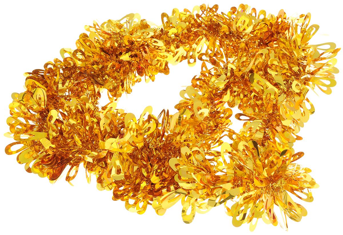 Мишура новогодняя Sima-land, цвет: золотистый, диаметр 9 см, длина 2 м. 452428 мишура новогодняя sima land цвет серебристый красный диаметр 4 см длина 200 см 702624