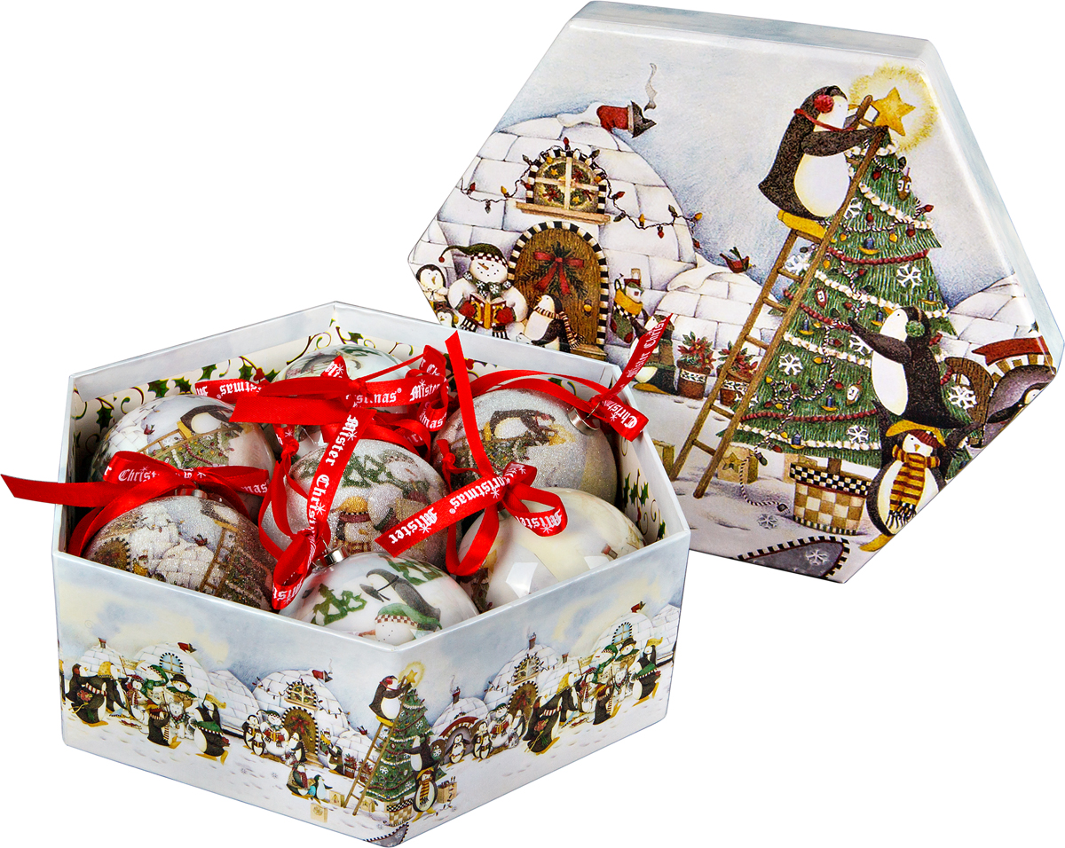 Набор новогодних подвесных украшений Mister Christmas  Папье-маше , диаметр 7,5 см, 7 шт. PM-71-7 -  Украшения