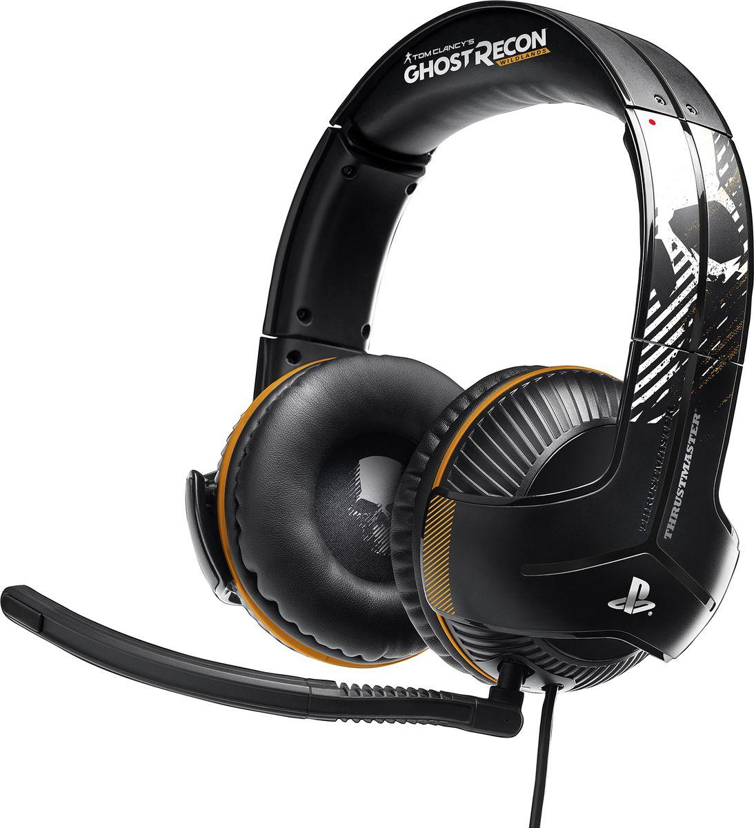 Thrustmaster Y350P Ghost Recon Wildlands игровая гарнитура для PS4THR71Игровая гарнитура Thrustmaster Y-350P 7.1 Surround Sound серии Ghost Recon Wildlands• ИГРОВАЯ ГАРНИТУРА GHOST RECON WILDLANDS — в глобальном партнерстве с легендарным брендом Ghost Recon. Аудиохарактеристики, оптимизированные для PlayStation®4 и электроника для удобной регулировки звука на системе! Удобная настройка благодаря подключению Plug and Play на PS4™ и PS4™ Pro.• Высококачественные мощные 60-мм динамики. Ощутите игровой раж благодаря суперусиленным басовым частотам и оптимальной амплитудно-частотной характеристике для басовых/средних и высоких частот. Слышать ПЕРВЫМ — реагировать ПЕРВЫМ — стрелять ПЕРВЫМ!• Y Sound Commander — контроллер, подключаемый непосредственно к DUALSHOCK 4 и предлагающий технологию 7.1 Virtual Surround Sound, которая позволяет с точностью локализовать направление каждого звука в игре, обеспечивая максимальное погружение в борьбу. Глубокие басы и световой индикатор громкости.• Гарнитура имеет функцию автопитания от встроенного в провод аккумулятора в Sound Commander, который питает функции активного баса и виртуального объемного звука 7.1.• Идеальное сочетание удобства и звукоизоляции. 100% пена с эффектом памяти на ушных подушках и двойное электроакустическое усиление нижних частот в сочетании с электронным усилением басов, встроенным непосредственно в контроллер.Официальный продукт: гарнитура Y-350P серии Ghost Recon Wildlands и PlayStation 4АУДИОПРЕВОСХОДСТВО и наработки компании Sony Interactive Entertainment. В глобальном партнерстве с легендарным брендом.Дизайн в неповторимом стиле Ghost Recon Wildlands.Игровая гарнитура с официальной лицензией — для идеального звучания игр на PlayStation 4!САМЫЕ МОЩНЫЕ В ИСТОРИИ БАСЫ ДЛЯ КОНСОЛИВысококачественные мощные 60-мм динамики — ощутите игровой раж благодаря суперусиленным басовым частотам! Двойное электроакустическое усиление басов благодаря специальному дизайну ушных чашек. Дополняется электронным усилением басов, 