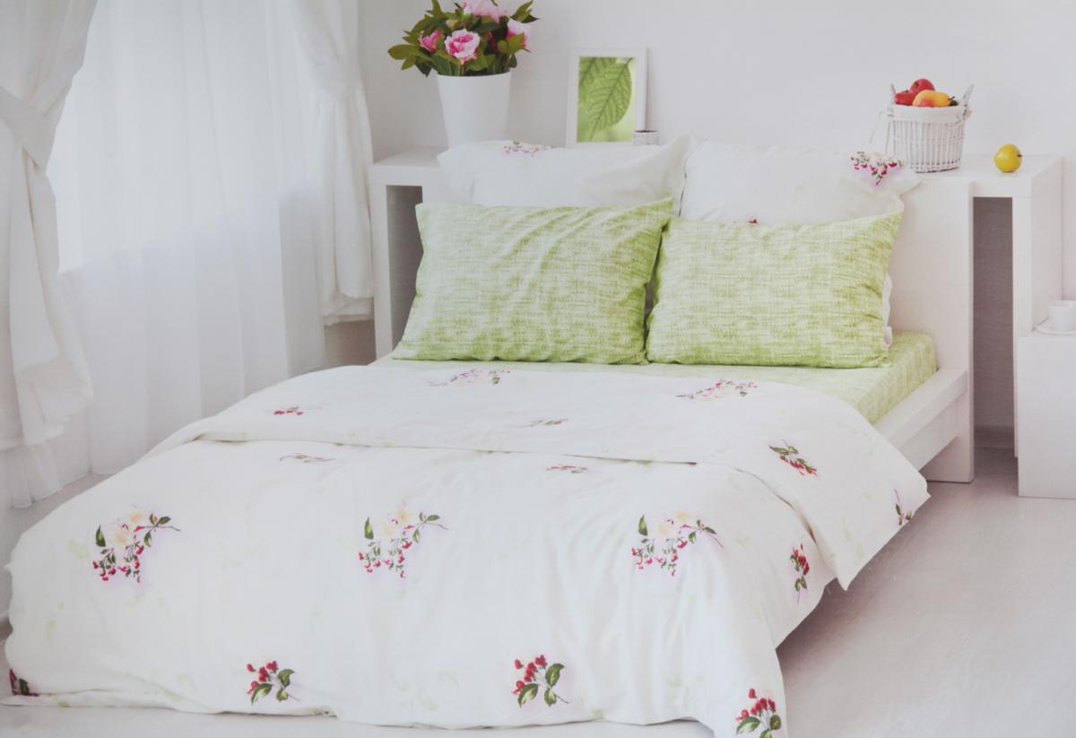 Комплект белья Tete-a-Tete Цветы, евро, цвет: белый, зеленый. Т-2103-03 комплект постельного белья quelle tete a tete 1010965 2сп 70х70 2
