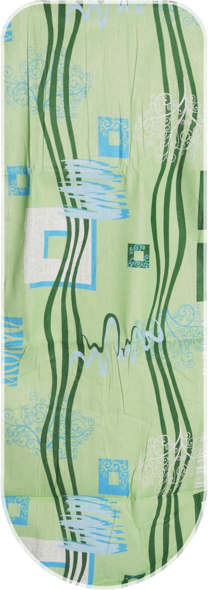 Чехол для гладильной доски, универсальный, цвет: зеленый, голубой, 125 х 47 см + Полотно войлокообразное под чехол, цвет: белый, 130 х 50 смЕ1301-зеленый, голубойКачественный чехол для гладильной доски, изготовленный из прочного хлопка, значительно облегчит сушку и глажку постельного белья. Особенности и преимущества: ткань не теряет форму, не сминается, не рвется во время глажки; гладильная доска остается чистой, на ней не появляется пятен, которые могут образоваться во время глажки вельвета, замши или велюра; разглаженная поверхность гораздо дольше сохраняет приобретенную форму; защитное полотно дает возможность работать на режиме отпаривания, используя самые высокие температуры на утюге; изделия легко стираются, надежно фиксируются и отлично пропускают пар; сетка позволяет значительно выпрямить волокна даже трудно разглаживаемой ткани. К чехлу прилагается практичное и долговечное в использовании войлокообразное полотно, из которого вы можете вырезать подкладку любого размера, подходящую именно для вашей доски. Такая подкладка препятствует образованию блеска и отпечатков металлической сетки гладильной доски на одежде. Чехол для гладильной доски и подкладка для него станут надежными помощниками при разглаживании деликатных предметов гардероба из шелка, нейлона и других тканей. Максимальный размер доски: 120 см х 42 см.
