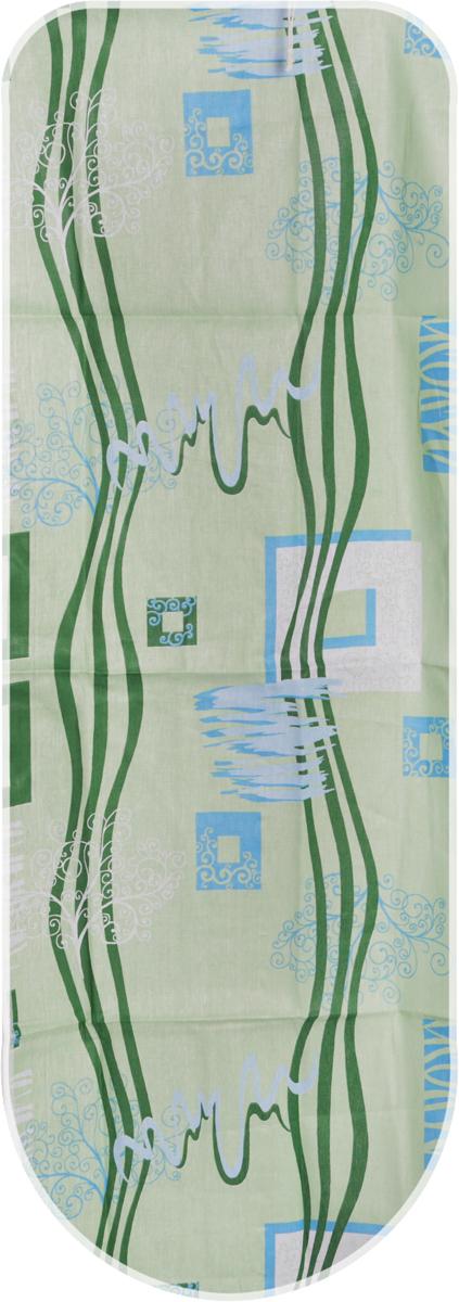 Чехол для гладильной доски Detalle, универсальный, цвет: салатовый, зеленый, голубой, 125 х 47 смЕ1301-салатовый, зеленый, голубойЧехол для гладильной доски Detalle, цвет: салатовый, зеленый, голубой, 120 х 42 см + полотно