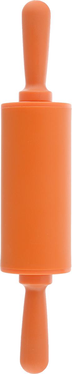 Скалка Доляна Севилья, цвет: оранжевый, 22 х 4 см118930Скалка - необходимый на кухне предмет. Изделие из силикона представляет собой усовершенствованную версию привычного инструмента. Яркий дизайн делает предмет украшением арсенала каждого повара. Готовку облегчают удобные ручки.