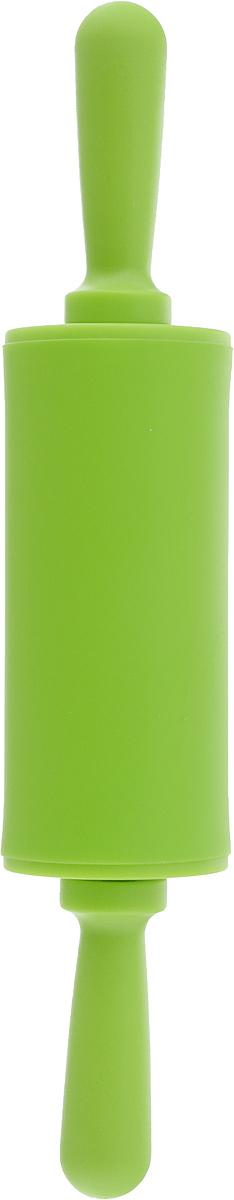 Скалка Доляна Севилья, цвет: салатовый, 22 х 4 см118930Скалка - необходимый на кухне предмет. Изделие из силикона представляет собой усовершенствованную версию привычного инструмента. Яркий дизайн делает предмет украшением арсенала каждого повара. Готовку облегчают удобные ручки.