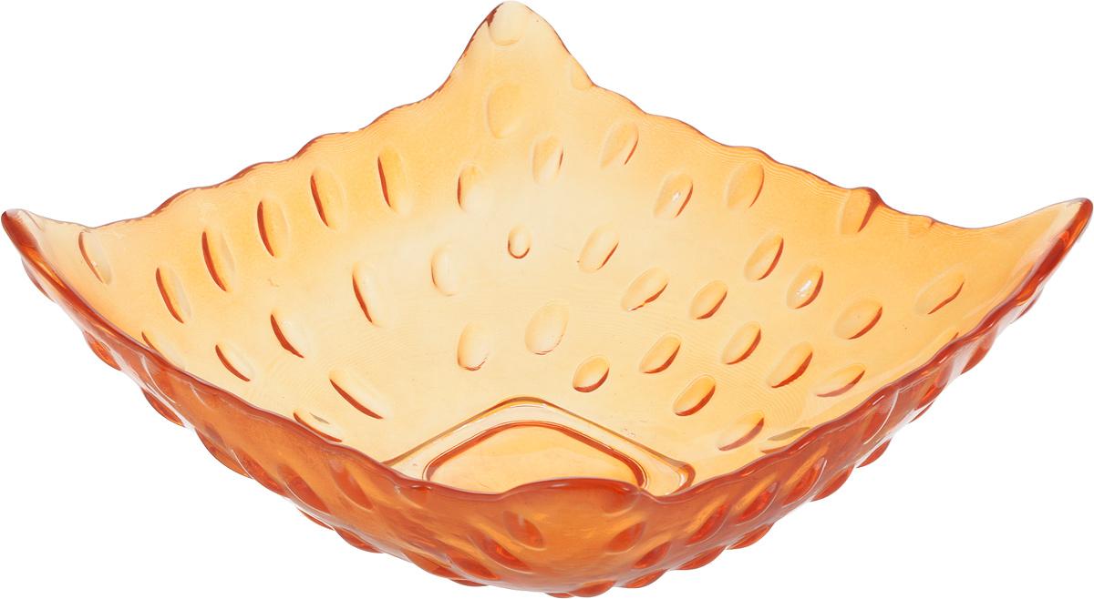 Салатник NiNaGlass Софи, цвет: оранжевый, 16,5 х 16,5 х 6 см83-030 ОРСалатник NiNaGlass Софи выполнен из высококачественного стекла и имеет рельефную внешнюю поверхность. Такой салатник украситсервировку вашего стола и подчеркнет прекрасный вкус хозяйки, а также станет отличным подарком.