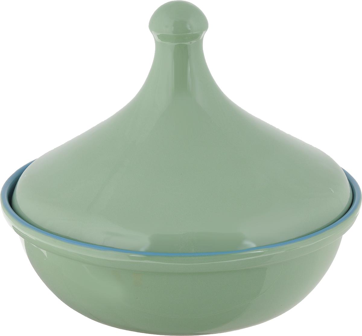 Тажин Борисовская керамика Радуга, цвет: светло-зеленый, 2,5 лРАД14456627_светло зеленый, окантовка голубаяТажин Борисовская керамика Радуга, цвет: светло зеленый, 2,5 л