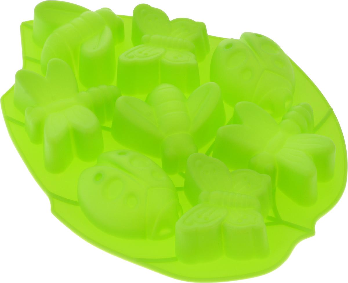 Форма для выпечки Доляна Жучки, 27 х 21 х 2,5 см, цвет: зеленый, 8 ячеек628970_зеленыйФорма для выпечки из силикона - современное решение для практичных и радушных хозяек. Оригинальный предмет позволяет готовить в духовке любимые блюда из мяса, рыбы, птицы и овощей, а также вкуснейшую выпечку.Почему это изделие должно быть на кухне?блюдо сохраняет нужную форму и легко отделяется от стенок после приготовления;высокая термостойкость (от -40 до 230 ?) позволяет применять форму в духовых шкафах и морозильных камерах;небольшая масса делает эксплуатацию предмета простой даже для хрупкой женщины;силикон пригоден для посудомоечных машин;высокопрочный материал делает форму долговечным инструментом;при хранении предмет занимает мало места.Советы по использованию формыПеред первым применением промойте предмет теплой водой.В процессе приготовления используйте кухонный инструмент из дерева, пластика или силикона.Перед извлечением блюда из силиконовой формы дайте ему немного остыть, осторожно отогните края предмета.Готовьте с удовольствием!
