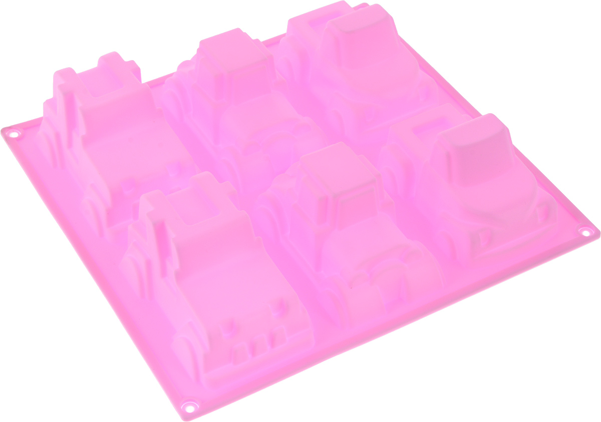 Форма для выпечки Доляна Машинки, цвет: розовый, 22 х 5 см, 6 ячеек628969_розовыйФорма для выпечки из силикона — современное решение для практичных и радушных хозяек. Оригинальный предмет позволяет готовить в духовке любимые блюда из мяса, рыбы, птицы и овощей, а также вкуснейшую выпечку. Почему это изделие должно быть на кухне?- блюдо сохраняет нужную форму и легко отделяется от стенок после приготовления;- высокая термостойкость (от –40 до 230 ?) позволяет применять форму в духовых шкафах и морозильных камерах;- небольшая масса делает эксплуатацию предмета простой даже для хрупкой женщины;- силикон пригоден для посудомоечных машин;- высокопрочный материал делает форму долговечным инструментом;- при хранении предмет занимает мало места.Советы по использованию формы.Перед первым применением промойте предмет тёплой водой.В процессе приготовления используйте кухонный инструмент из дерева, пластика или силикона.Перед извлечением блюда из силиконовой формы дайте ему немного остыть, осторожно отогните края предмета.Готовьте с удовольствием!