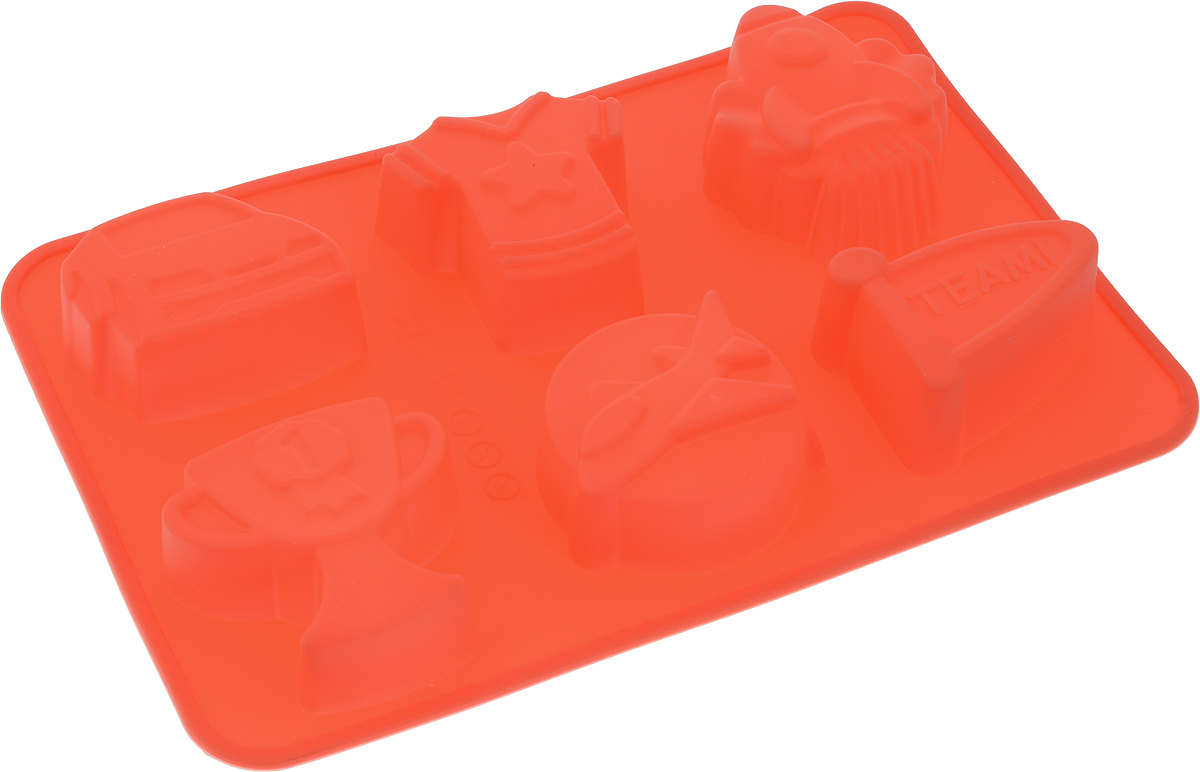 Форма для выпечки Доляна Чемпион, цвет: красный, 24,5 х 16,5 х 3 см, 6 ячеек