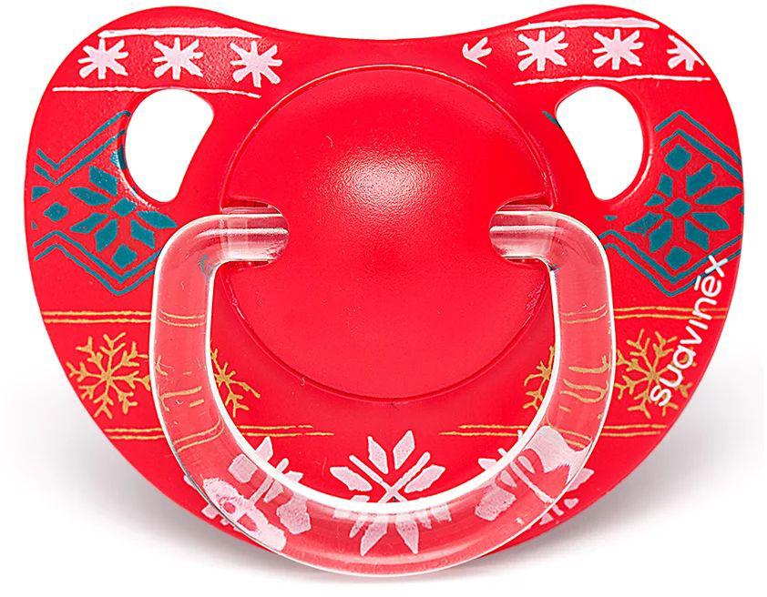 Пустышка Suavinex от 6-18мес Winter collection анатомич.силиконовая, красный, снежинки авент пустышка силик ночная 6 18мес n2