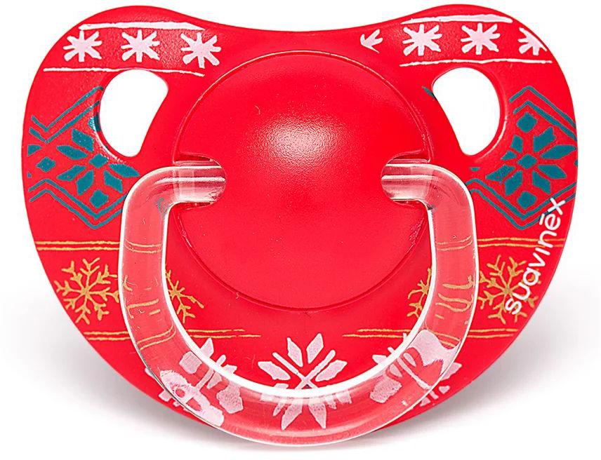 Пустышка Suavinex 18+мес Winter collection анатомич. силиконовая, красный, снежинки пустышка suavinex 18 мес winter collection анатомич силиконовая белый олени