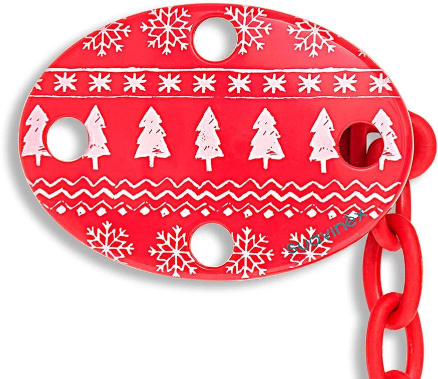 Suavinex Держатель соски-пустышки Winter Collection с зажимом цвет красный suavinex держатель соски пустышки baby art от 0 месяцев цвет розовый
