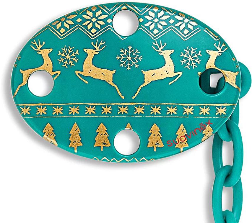 Suavinex Держатель соски-пустышки Winter Collection с зажимом цвет зеленый suavinex держатель соски пустышки baby art от 0 месяцев цвет розовый