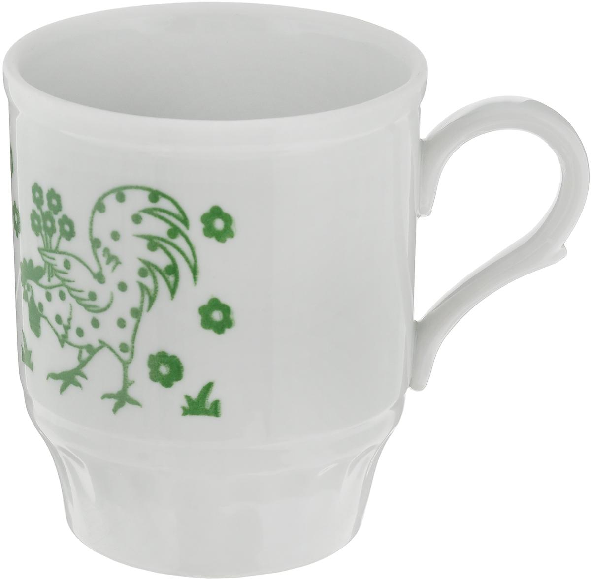 Кружка Дулевский фарфор Русское поле. Шелкотрафаретная печать, цвет: белый, зеленый, 210 мл