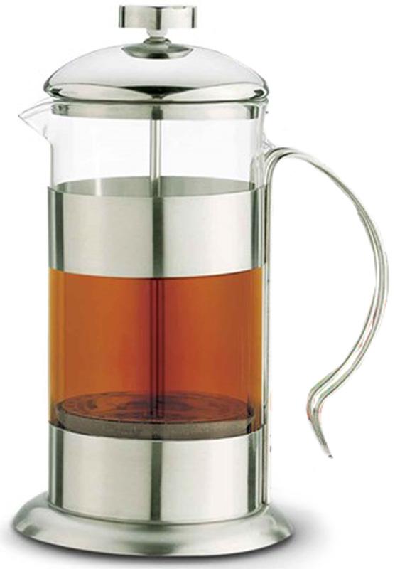 """Френч-пресс """"Teco"""" поможет приготовить вкусный и ароматный чай или кофе. Колба изготовлена из высококачественного термостойкого стекла.  Основание, ручка и крышка выполнены из нержавеющей стали. Плотно прилегающая крышка позволяет надолго сохранить аромат напитка.  Фильтр-поршень обеспечивает равномерную циркуляцию воды и насыщенность напитка. С его помощью также можно регулировать степень  крепости напитка.  Остановить процесс заваривания легко, для этого нужно просто опустить поршень, и все уйдет вниз, оставляя вверху напиток, готовый к  употреблению. Объем: 800 мл."""