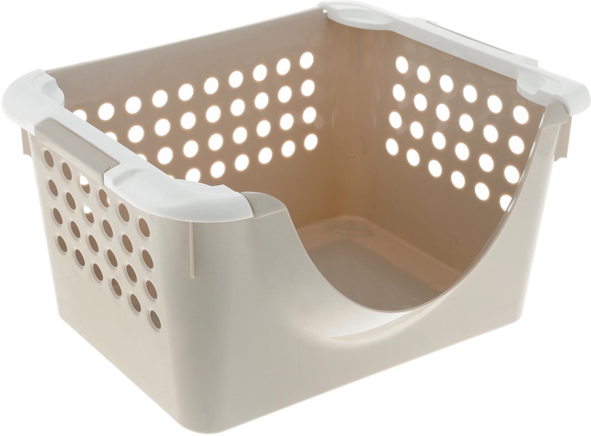 """Универсальная корзина """"Econova"""", выполненная из прочного пластика, предназначена для хранения вещей в ванной, на кухне, даче или гараже. Позволяет хранить вещи, исключая возможность их потери.Корзина оснащена двумя удобными ручками для переноски. Боковые стенки перфорированы."""