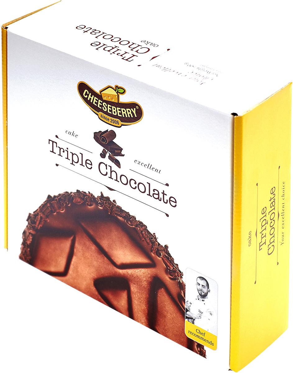 Cheeseberry Торт Тройной Шоколад, 500 гМК000001120Натуральный тёмный шоколад, который лёг в основу бисквита и творожно-сливочной массы, гарантирует этому десерту звание самого шоколадного из всех шоколадных десертов.