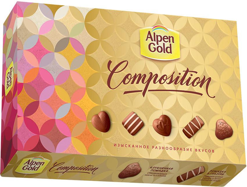 Alpen Gold Composition набор конфет пять вкусов, 78 г7622210733740Шоколад Альпен Гольд американской компании Крафт Фудс появился на российском рынке в 1994 году и сразу же обрел наибольшую популярность среди потребителей, которую не теряет и по сей день. Продукция торговой марки также представлена в Украине, Белоруссии и Польше.В переводе шоколад называется Альпийское золото. При этом торговая марка никак не относится к Альпам: все производство расположено в странах Восточной Европы.Любовь покупателей шоколад Alpen Gold завоевал хорошим соотношением цены и качества, а также большим разнообразием вкусов. Уважаемые клиенты! Обращаем ваше внимание, что полный перечень состава продукта представлен на дополнительном изображении.Уважаемые клиенты!Обращаем ваше внимание на возможные изменения в дизайне упаковки. Качественные характеристики товара остаются неизменными. Поставка осуществляется в зависимости от наличия на складе.