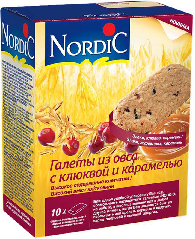 Nordic галета из овса с клюквой и карамелью, 30 г полезный перекус