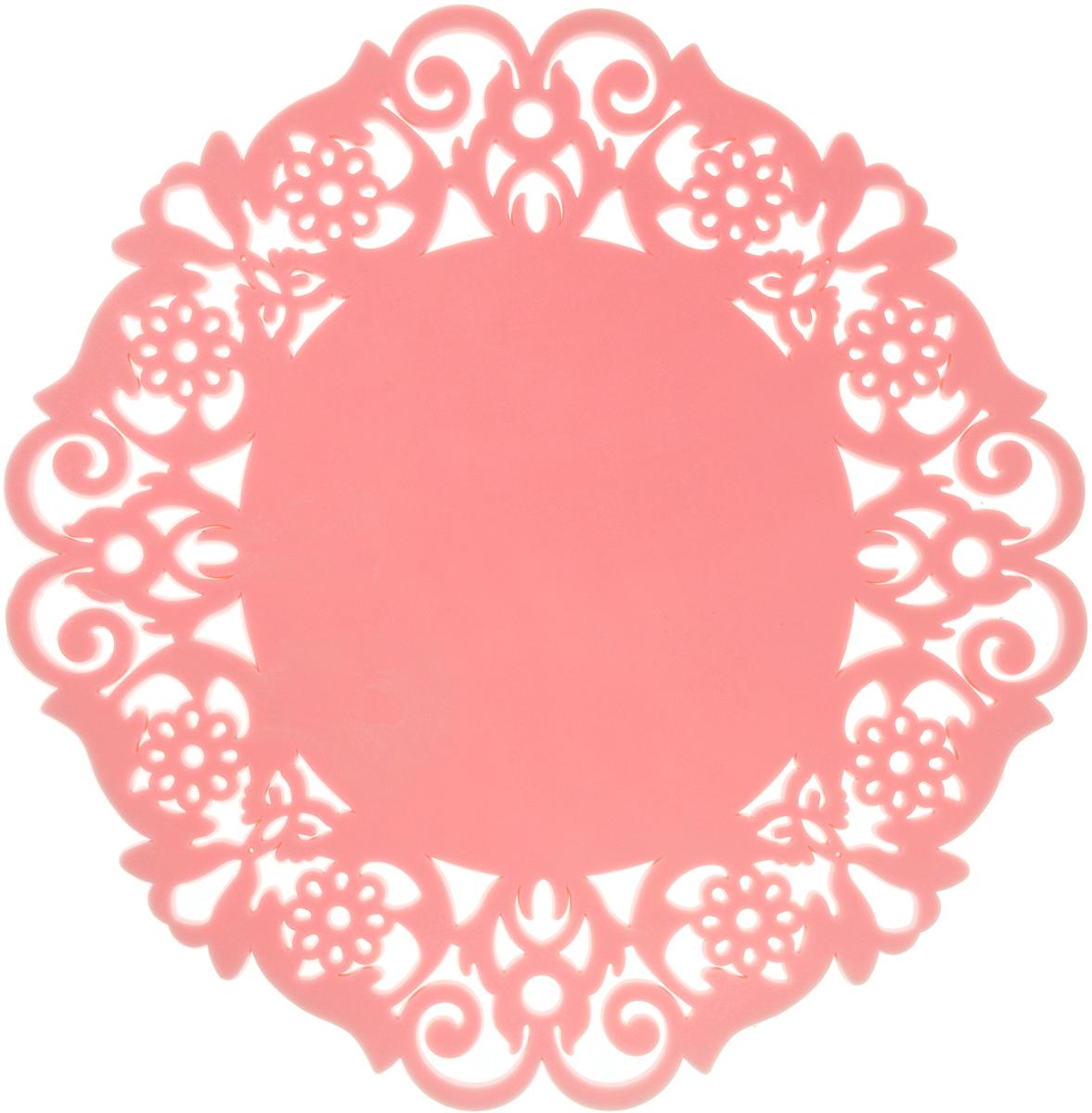 Подставка под горячее Доляна Чаепитие, цвет: розовый, 16 см812070_розовыйСиликоновая подставка под горячее - практичный предмет, который обязательно пригодится в хозяйстве. Изделие поможет сберечь столы, тумбы, скатерти и клеенки от повреждения нагретыми сковородами, кастрюлями, чайниками и тарелками.