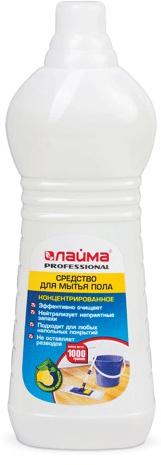 Средство для мытья пола Лайма Professional, концентрат, лимон, 1 л601607Эффективное средство для мытья пола обладает высоким уровнем чистящей способности и придаёт блеск обработанным поверхностям, создавая эффект защитной плёнки. pH нейтральный, что позволяет чистить любые поверхности: линолеум, паркет, ламинат и т.д.Как выбрать качественную бытовую химию, безопасную для природы и людей. Статья OZON Гид