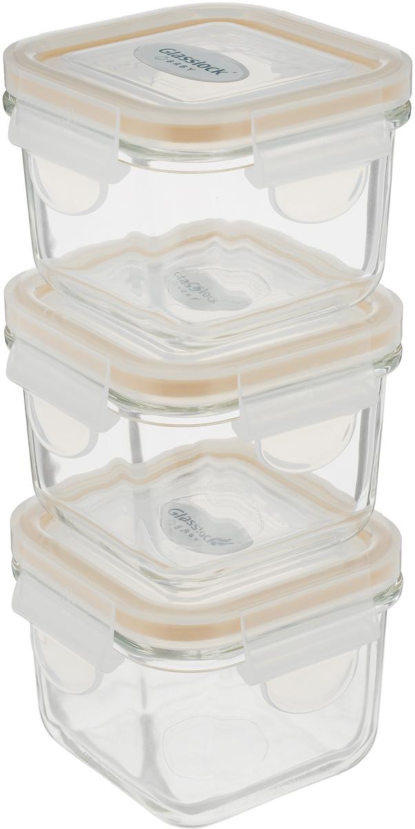 """Набор контейнеров """"Glass Lock"""", квадратных, цвет: оранжевый, прозрачный, 210 мл, 3 шт"""