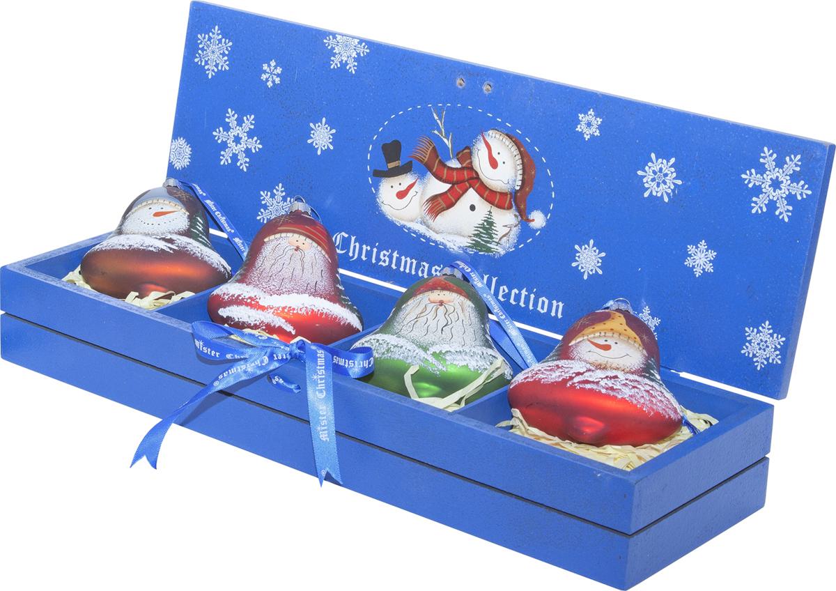 Набор новогодних украшений Mister Christmas, 4 шт. LH-B4-SET/4LH-B4-SET/4Набор подвесных украшений Mister Christmas поможетстильно украсить новогоднюю елку. Изделия,выполненные из полистоуна в виде любимых нами ДедаМороза и снеговика, не оставят равнодушным никого, ктопридет в ваш дом. Такие украшения не боятся падения,света или влаги и несмотря на размер достаточнолегкие. Игрушки оснащены петелькой дляподвешивания.Набор упакован в коробку из натуральной древесины,выкрашенную в насыщенный голубой цвет и украшеннуюрисунком.Такие украшения станут превосходным подарком кНовому году, а так же дополнят коллекцию оригинальныхновогодних елочных игрушек.