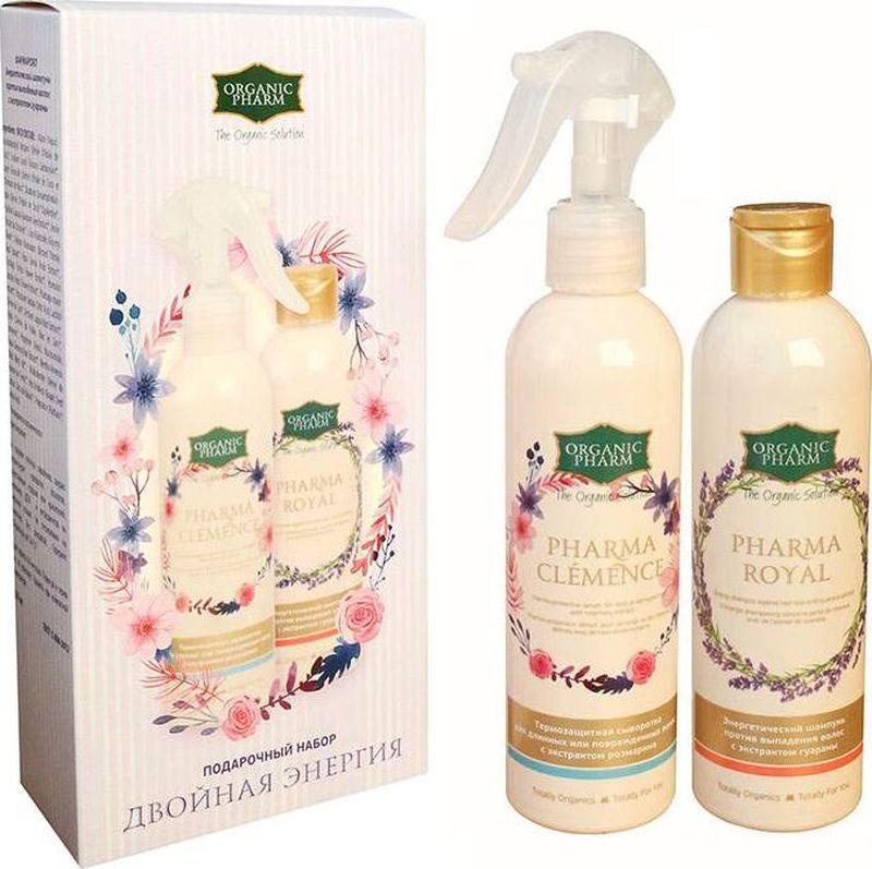 Greenpharma Подарочный набор Двойная энергия: энергетический шампунь против выпадения волос с экстрактом гуараны, 250 мл, термозащитная сыворотка для длинных или поврежденных волос с экстрактом розмарина, 250 мл