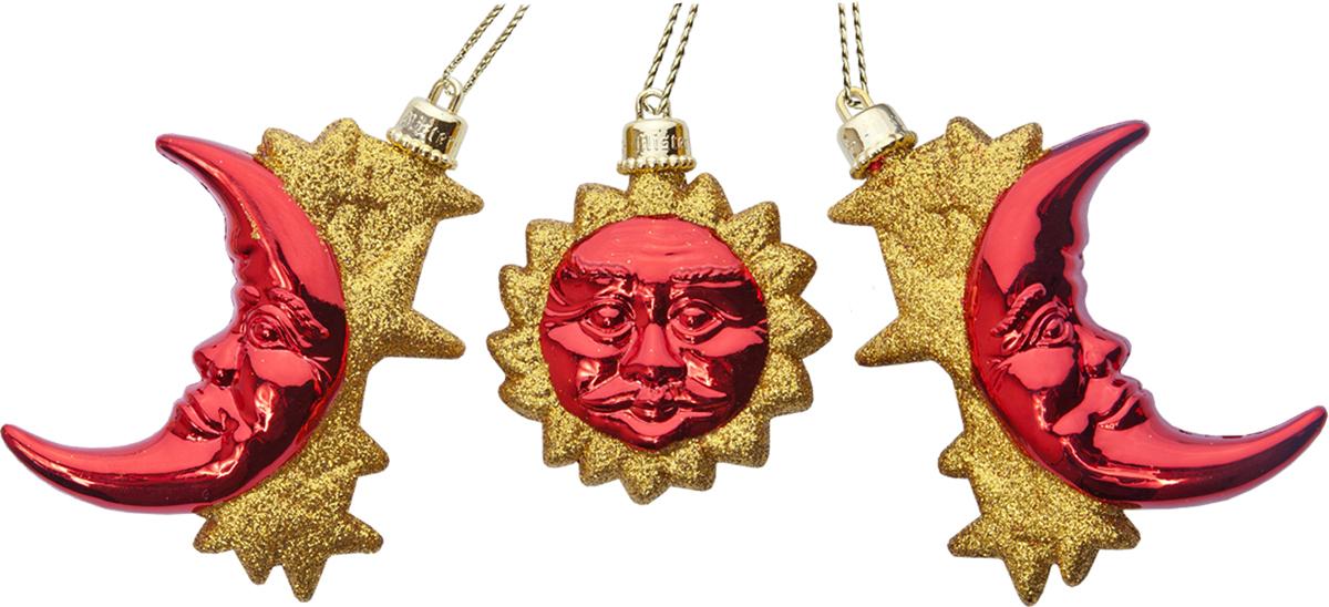Набор новогодних украшений Mister Christmas Месяц, цвет: золотой, красный, 3 штRL-SUMOMIX-2