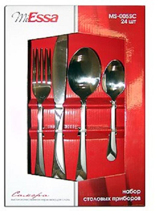 Набор столовых приборов MiEssa Samora, 24 предмета. MS-005SCMS-005SCНабор столовых приборов MiEssa Samora состоит из 24 предметов. Изделия выполнены из нержавеющей стали.Набор столовых приборов MiEssa Samora - это прекрасный выбор для сервировки стола. Благодаря зеркальной поверхности изделия подчеркнут изысканность стола в целом.В набор входят: 6 вилок, 6 столовых ложек, 6 чайных ложек и 6 ножей.