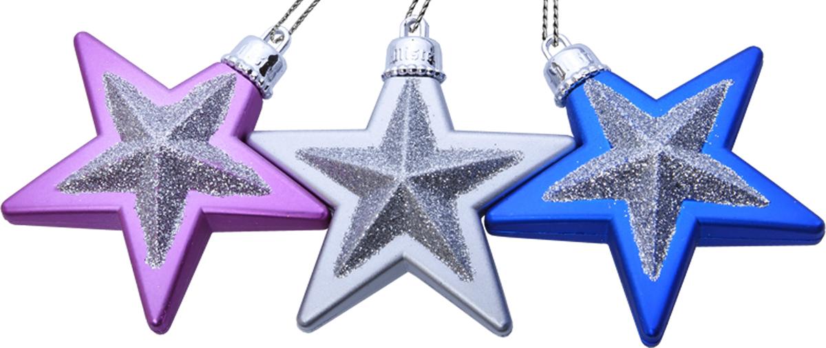 """Набор подвесных украшений Mister Christmas """"Звезды"""" прекрасно подойдет для  праздничного декора  новогодней ели. Набор состоит из трех украшений, выполненных из пластика в  виде звезд и украшенных блесками. Для удобного размещения на елке для  каждого украшения предусмотрена петелька.  Елочная игрушка - символ Нового года. Она несет в себе волшебство и красоту  праздника. Создайте в своем доме атмосферу веселья и радости, украшая  новогоднюю елку нарядными игрушками, которые будут из года в год накапливать  теплоту воспоминаний."""