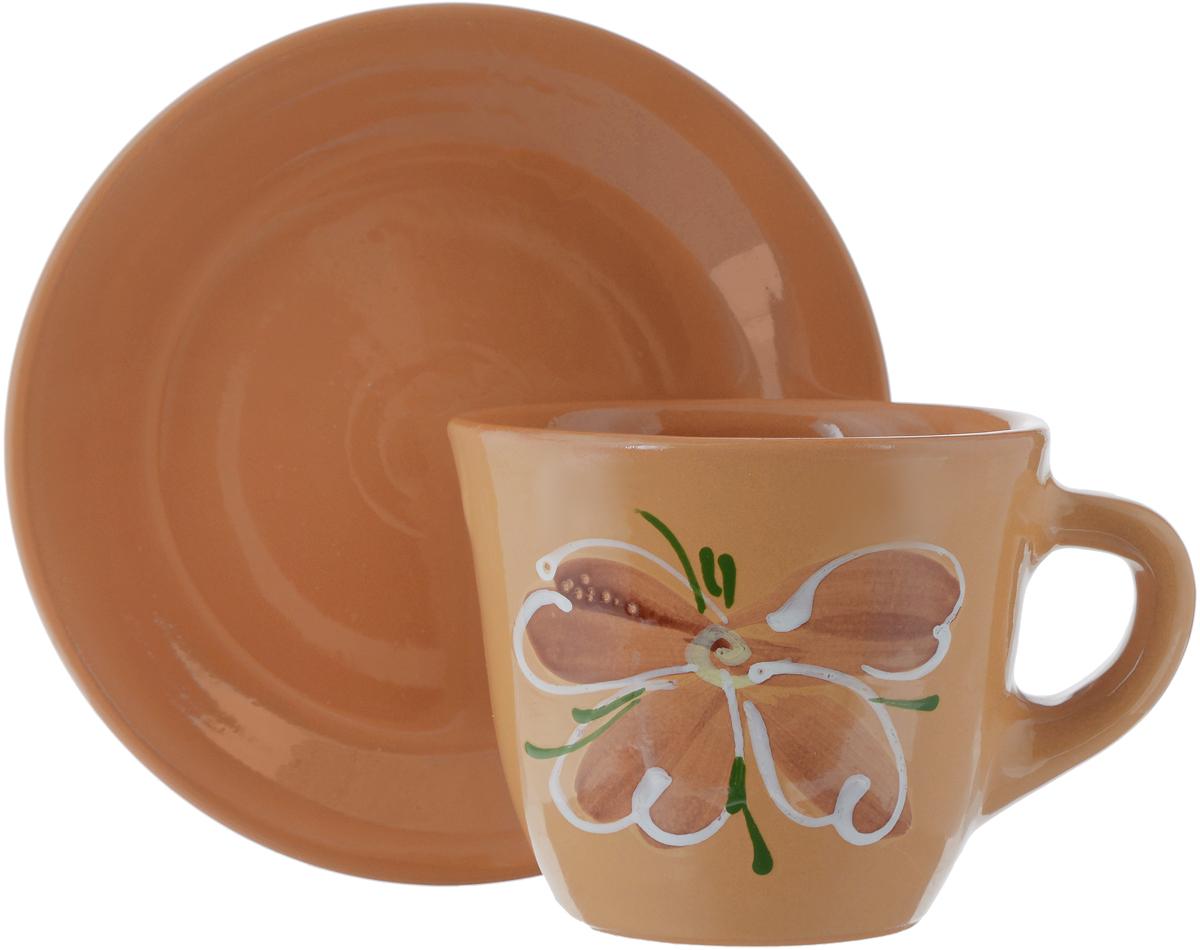 """Чайная пара Борисовская керамика """"Cтандарт"""", цвет: оранжевый, 2 предмета"""