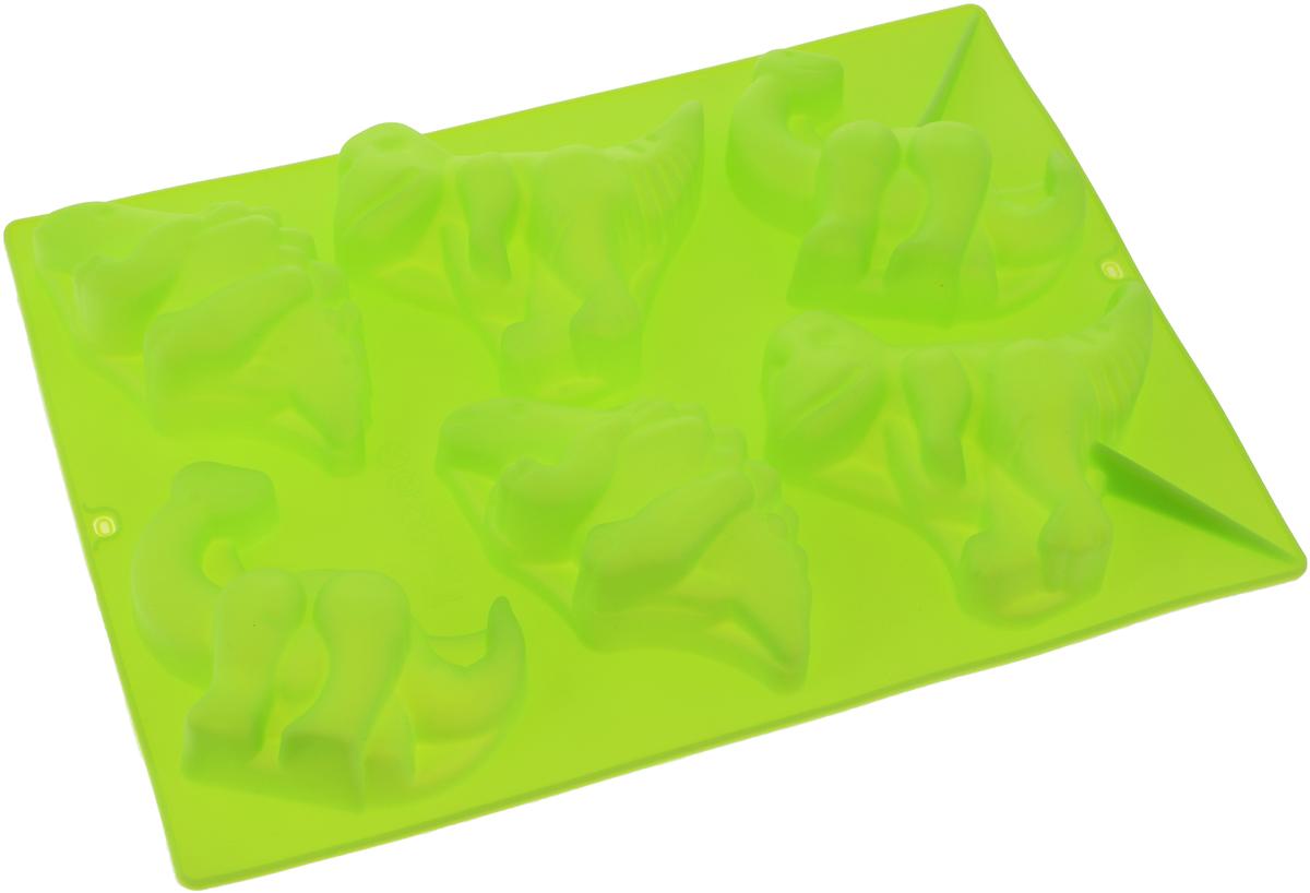 Форма для выпечки Доляна Динозавры, цвет: салатовый, 29 х 21 см, 6 ячеек651956_салатовыйФорма для выпечки из силикона - современное решение для практичных и радушных хозяек. Оригинальный предмет позволяет готовить в духовке любимые блюда из мяса, рыбы, птицы и овощей, а также вкуснейшую выпечку.Почему это изделие должно быть на кухне?блюдо сохраняет нужную форму и легко отделяется от стенок после приготовления;высокая термостойкость (от -40 до 230 С) позволяет применять форму в духовых шкафах и морозильных камерах;небольшая масса делает эксплуатацию предмета простой даже для хрупкой женщины;силикон пригоден для посудомоечных машин;высокопрочный материал делает форму долговечным инструментом;при хранении предмет занимает мало места.Советы по использованию формыПеред первым применением промойте предмет теплой водой.В процессе приготовления используйте кухонный инструмент из дерева, пластика или силикона.Перед извлечением блюда из силиконовой формы дайте ему немного остыть, осторожно отогните края предмета.Готовьте с удовольствием!