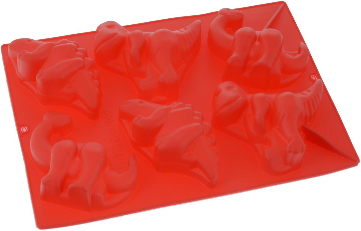 Форма для выпечки Доляна Динозавры, цвет: красный, 29 х 21 см, 6 ячеек651956_красный
