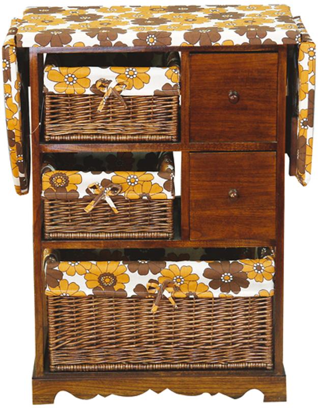 Гладильный комод He Wang, с 3 корзинами и 2 ящиками, цвет: коричневый, горчичный комод 2 3
