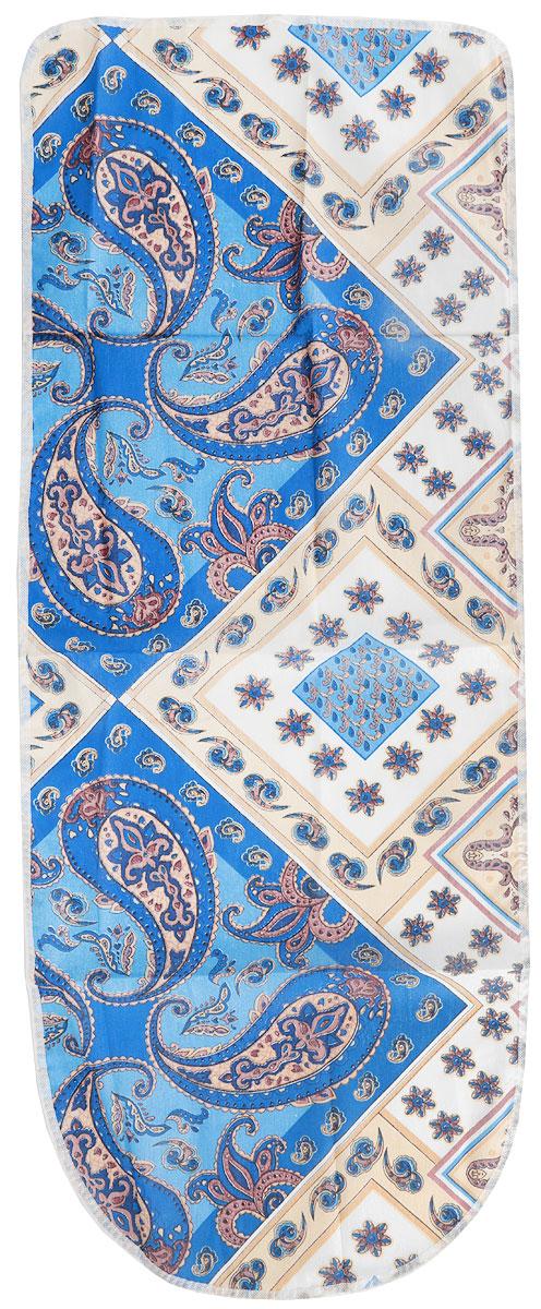 Чехол для гладильной доски Detalle, цвет: коричневый, белый, синий, 120 х 42 смЕ1301-коричневый, белый, синийЧехол для гладильной доски Detalle, выполненный из хлопка с подкладкой измягкого войлока, предназначен для защиты или замены изношенного покрытиягладильной доски. Из войлочного полотна вы можете вырезатьподкладку любого размера, подходящую именно для вашей доски.Чехол препятствует образованию блеска и отпечатков металлической сеткигладильной доски на одежде.Этот качественный чехол обеспечит вам легкое глажение.Состав: хлопок, полиэстер. Размер чехла: 125 см x 47 см.Размер войлочного полотна: 130 см х 50 (+/- 2) см.Размер доски, для которой предназначен чехол: 120 см x 42 см.