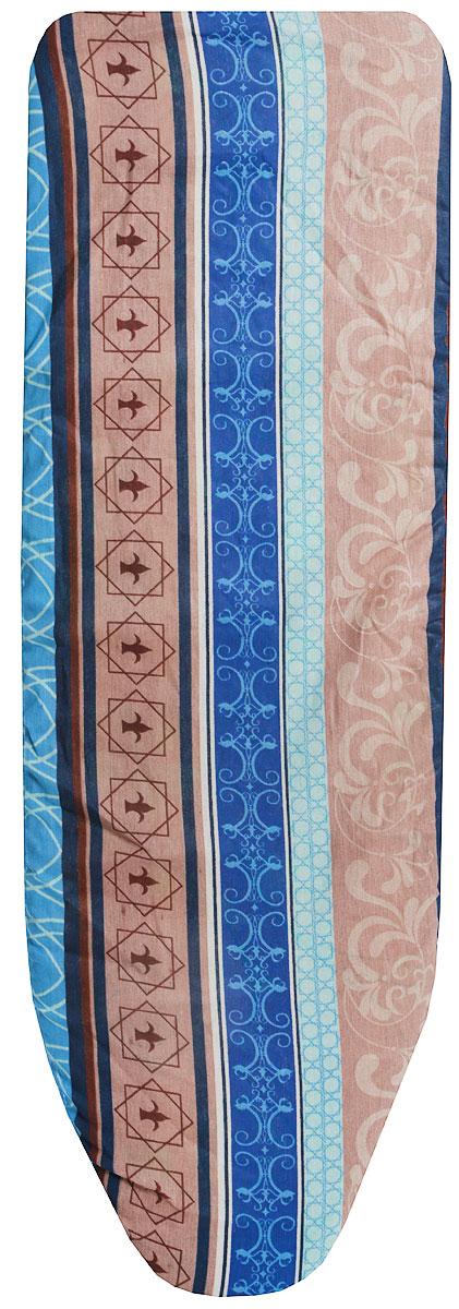 Чехол для гладильной доски Eva, цвет: синий, голубой, коричневый, 119 х 37 смЕ1304-синий, голубой, коричневыйЧехол Eva, выполненный из хлопка продлит срок службы вашей гладильной доски. Чехол снабжен стягивающим шнуром, при помощи которого вы легко отрегулируете оптимальное натяжение чехла и зафиксируете его на рабочей поверхности гладильной доски.Размер чехла: 119 х 37 см. Максимальный размер доски: 110 х 30 см.