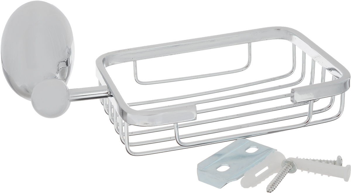 """Мыльница-решетка Grampus """"Briz"""" - практичный и стильный аксессуар для ванной комнаты. Металлический держатель устойчив к коррозии, а мыльница легко отмывается от загрязнений."""