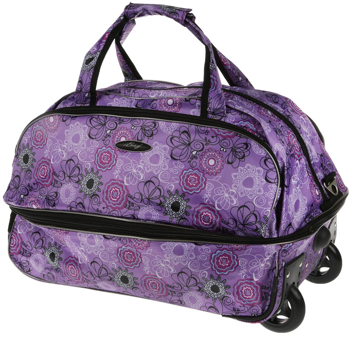 Сумка дорожная Ibag  Фиолетовый букет, на колесах, цвет: фиолетовый, 66-76 л2021 Фиолетовый букет20 дюймов, ручная кладь 123-129Сумка на колесах удобна тем, что в поездку можно взять больше вещей, не испытывая излишних неудобств при транспортировке. Благодаря колесам нагрузка при передвижении уменьшается и путешествия проходят намного легче. Просто выдвиньте ручку и возите сумку у себя за спиной, вместо того чтобы нести ее в руке или на плече. Данная Коллекция колесных сумок имеет вместительное отделение на молнии с карманом для мелочей и один карман на фронтальной части сумки. Для удобства транспортировки коллекция сумок оснащена выдвижной ручкой. Она надежно фиксируется и превращает сумку в некое подобие тележки. Сумка на колесах с выдвижной ручкой занимает совсем немного места и крайне удобна в хранении. Данная коллекция выполнена из легкой, очень прочной ткани которая великолепно сохраняет форму, устойчива к световому и тепловому воздействию и проста в уходе, а так же некоторые модели коллекции выполнены из кож.заменителя. Легкая и удобная, послужит незаменимым спутником как в деловой поездке так и в дальнем путешествии.