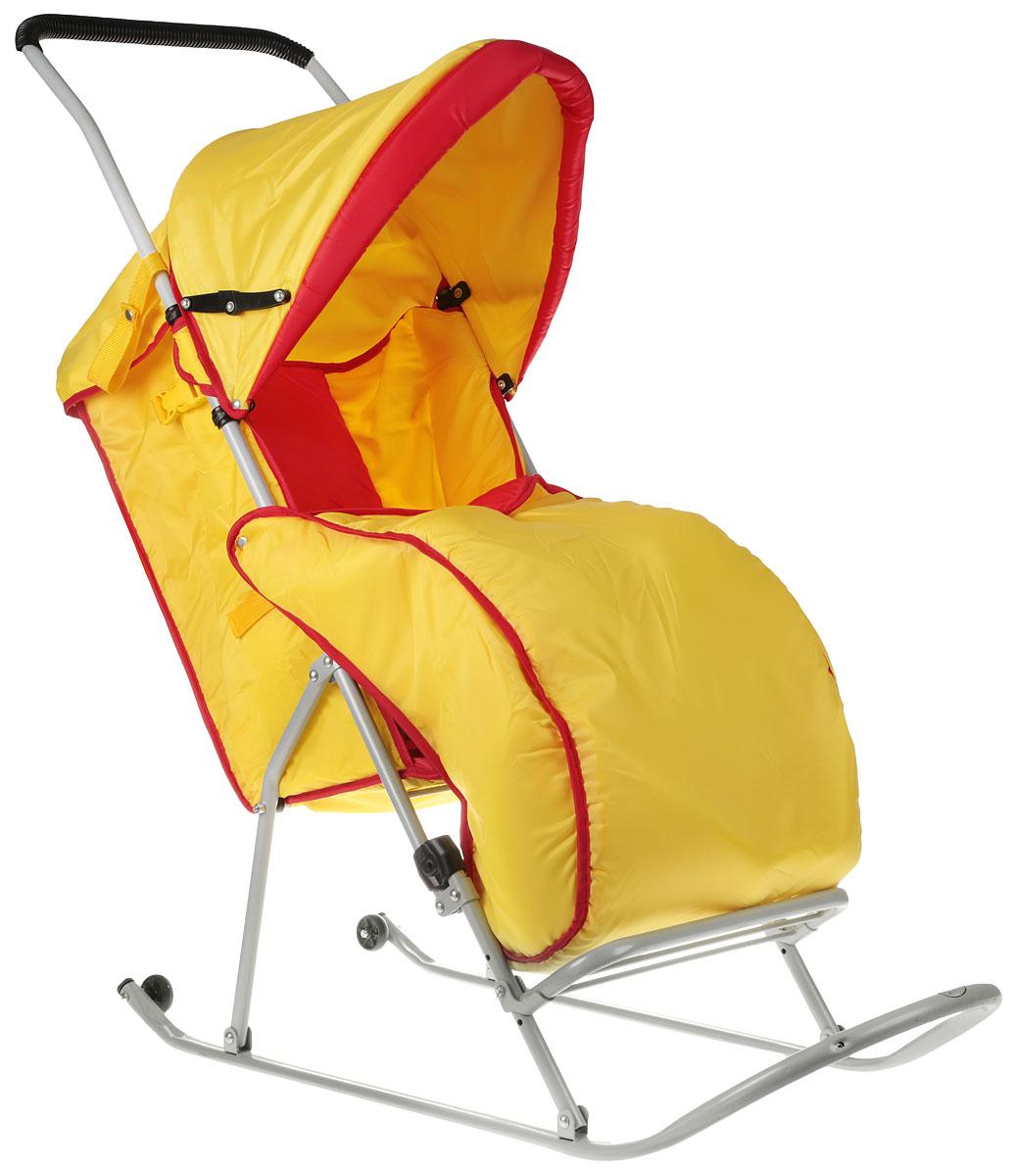 Фея Санки-коляска Метелица Люкс 1 с тентом цвет желтый красный