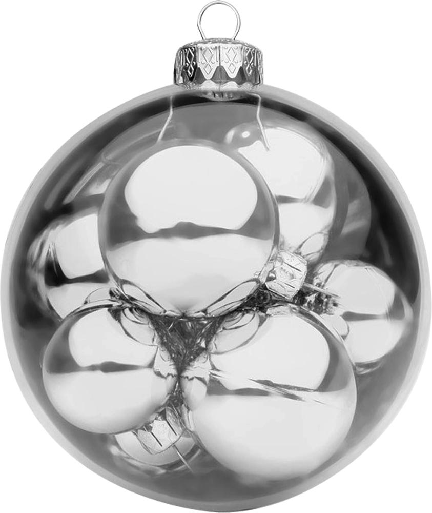 """Новогоднее подвесное украшение """"Mister Christmas"""" прекрасно подойдет для праздничного декора новогодней ели. Украшение представляет собой большой шар, в котором расположены новогодние шарики поменьше. Для удобного размещения на елке предусмотрена петелька. Елочная игрушка - символ Нового года. Она несет в себе волшебство и красоту праздника. Создайте в своем доме атмосферу веселья и радости, украшая новогоднюю елку нарядными игрушками, которые будут из года в год накапливать теплоту воспоминаний."""
