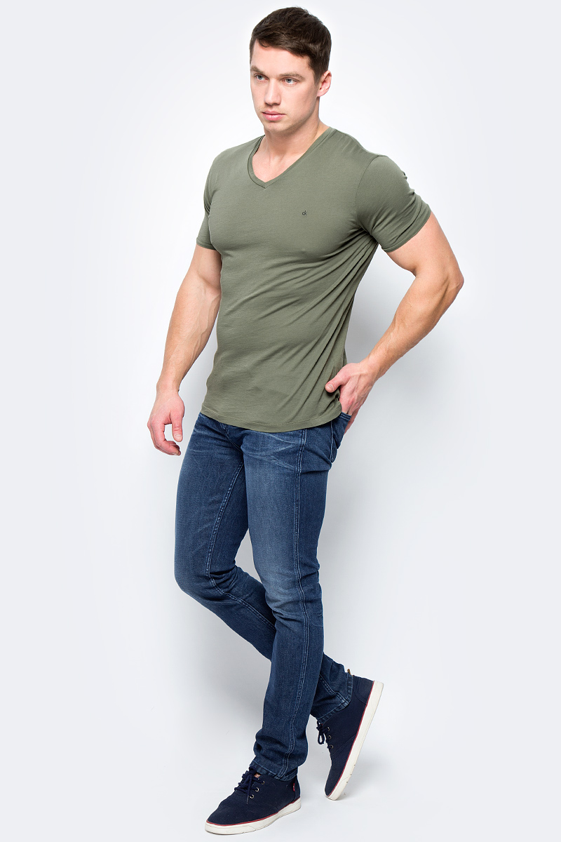 Футболка мужская Calvin Klein Jeans, цвет: серо-зеленый. J3EJ303544_2930. Размер S (44/46) calvin klein women s textured beaded ruched jersey dress 4 black