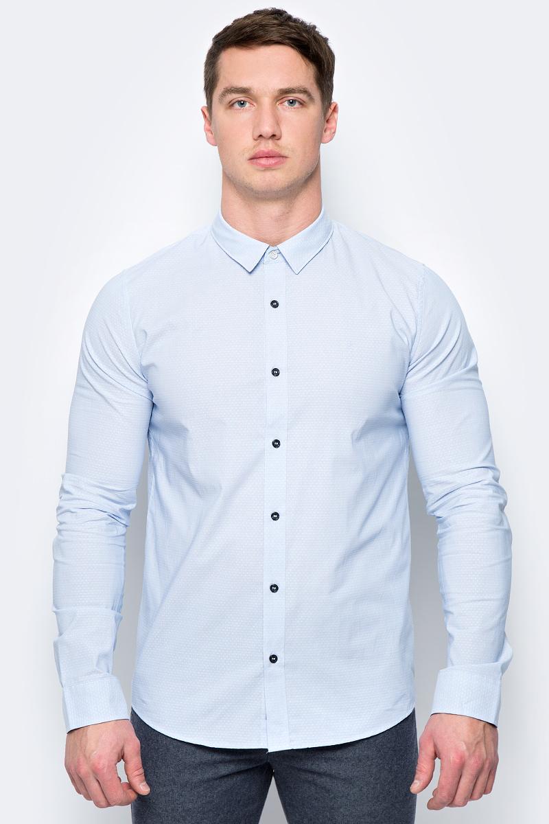 Рубашка мужская Calvin Klein Jeans, цвет: голубой. J30J306384_4060. Размер S (44/46) рубашка мужская calvin klein jeans цвет темно синий j30j301011 размер s 44 46