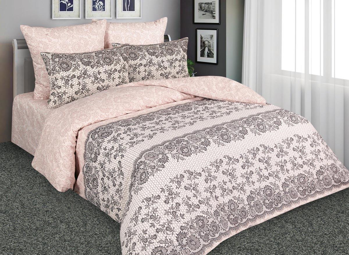 Комплект белья Amore Mio Нежность, 2-спальный, наволочки 70x70, цвет: кремовый, коричневый. 88542