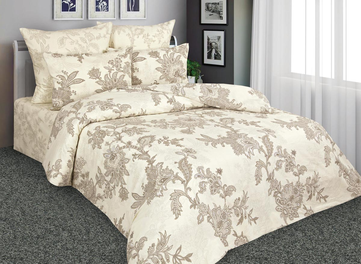 Комплект белья Amore Mio Изысканое кружево, 2-спальный, наволочки 70x70, цвет: бежевый, коричневый. 88545 постельное белье amore mio bz tabriz комплект 1 5 спальный сатин 86487
