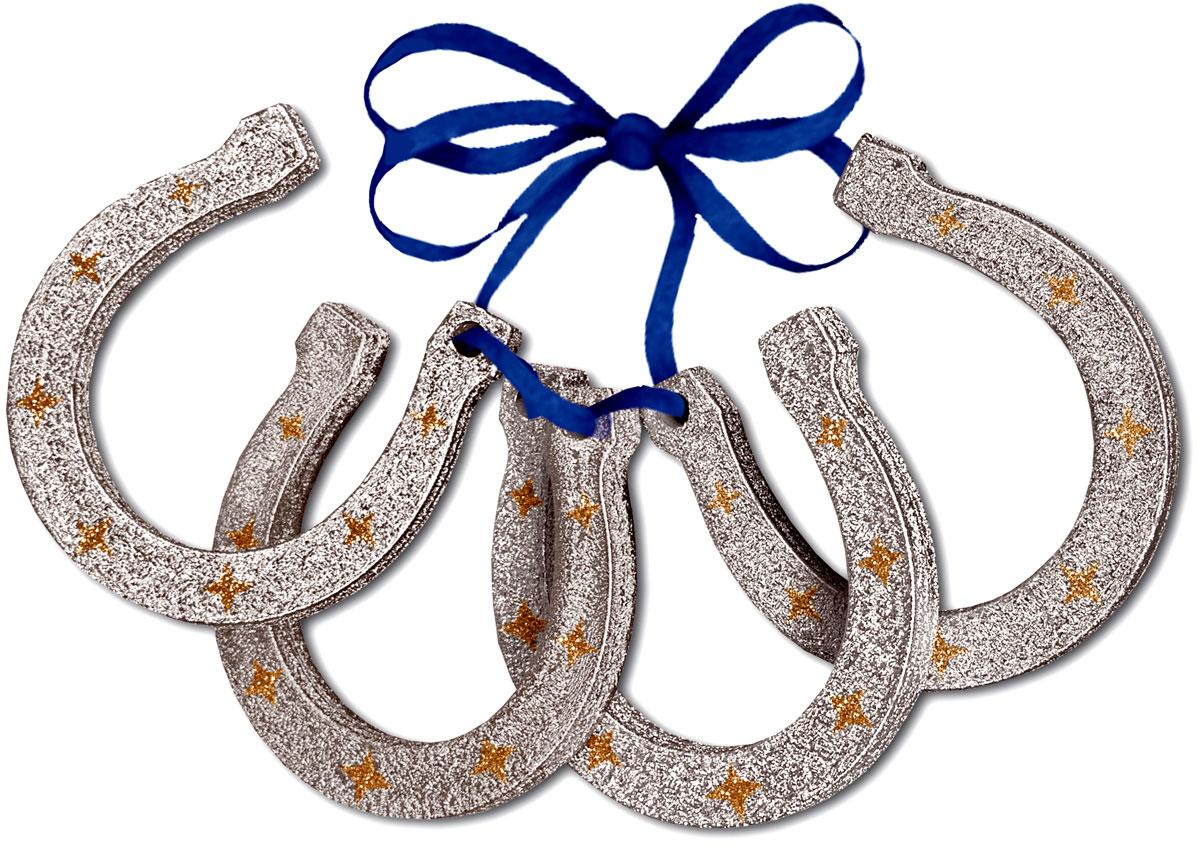 Набор новогодних украшений Mister Christmas Подкова, 4 шт. PSS1114005Набор подвесных украшений Mister Christmas прекрасно подойдет для праздничного декора новогодней ели. Набор состоит из 4 украшений. Для удобного размещения на елке для каждого украшения предусмотрена петелька.